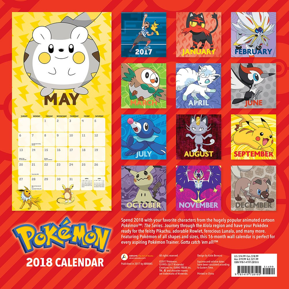 Pokémon 2018 Wall Calendar: Pokémon: 9781419728105: Amazon.com: Books
