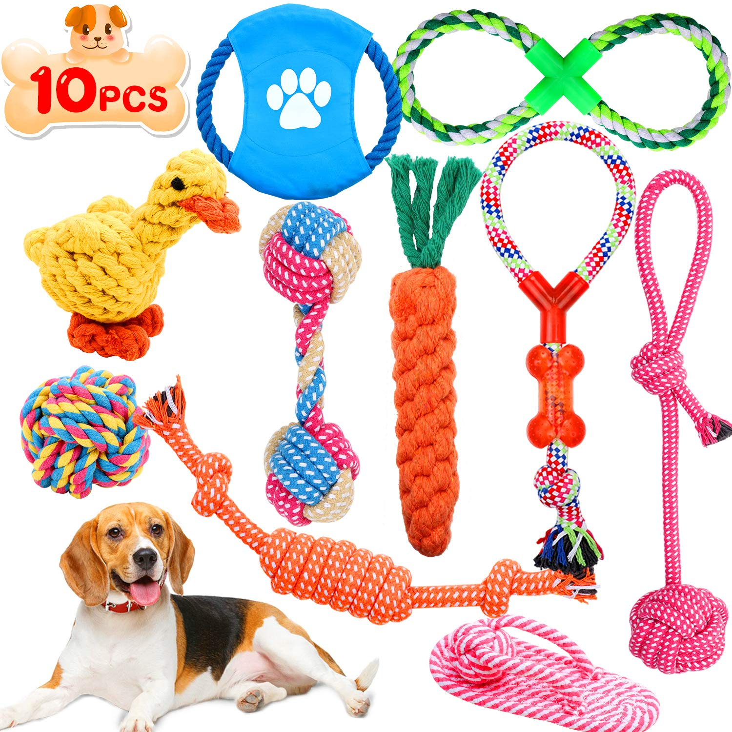 Wimypet 10 Pcs Dog Toys Puppy Chew Rope Toys Set, Natural Braided Cotton Rope Toys for Dogs Pets - Interactive Dog Toys with Frisbee Ball Duck Slipper Knots, Teeth Cleaning for Small and Medium Dogs