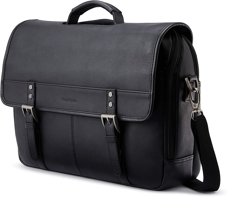 Samsonite Classic Leather Flapover, Black, One Size
