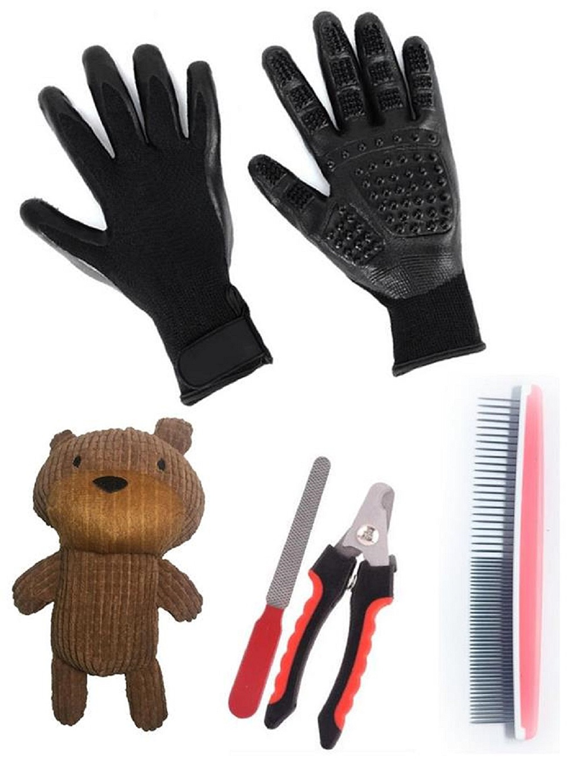 Deluxe Groom & Play Pet Set - High quality Dog/Cat Grooming Gloves - Nail Clipper/file - SS Comb - Honey Bear Squeak Toy