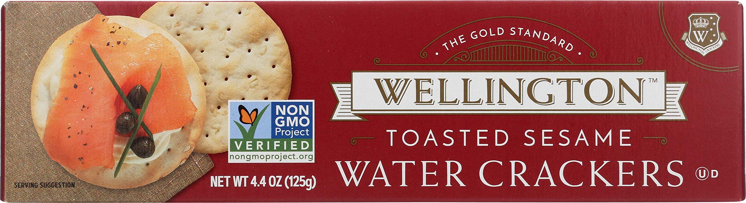 Wellington Toasted Sesame Water Crackers, 4.4-Ounces (Pack of 12)