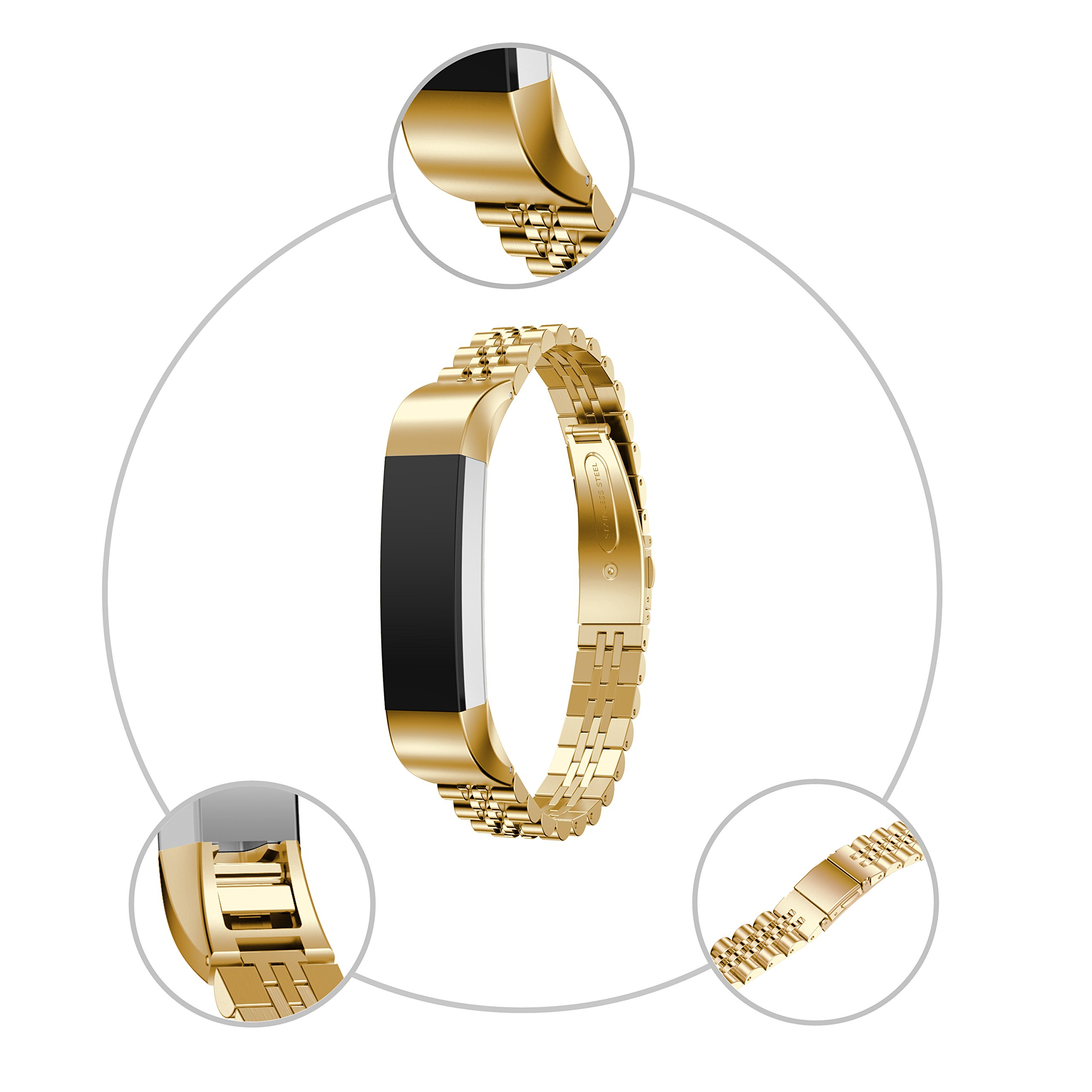 RuenTech For Fitbit Alta/Alta HR Bands Replacement Metal Bands Business Style Bracelet For Fitbit Alta HR and Alta (Gold)