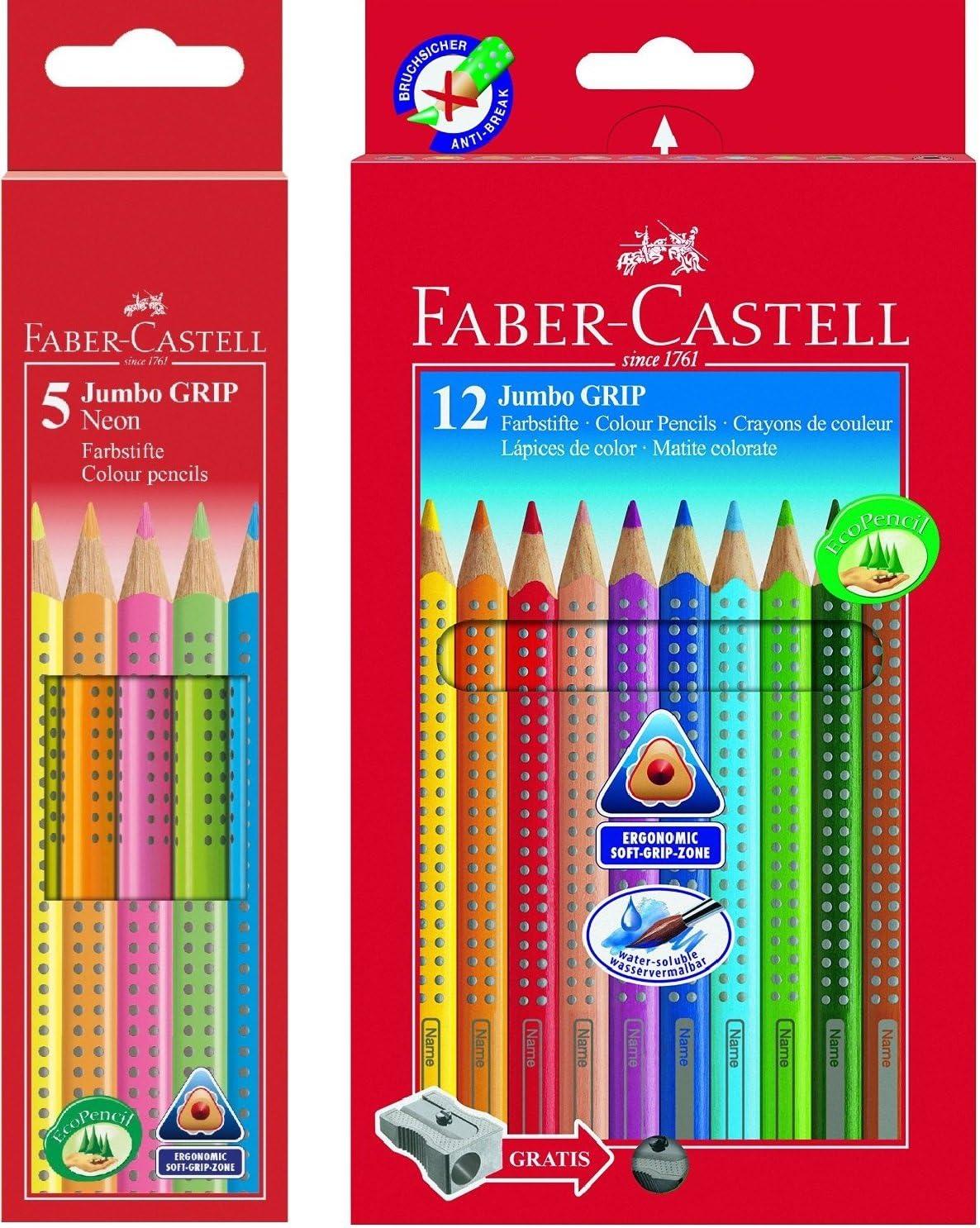 Faber-Castell Bundle 110912 lápices de jumbo grip 12 estuche de cartón; incluye sacapuntas y FABER-CASTELL 110994 – Estuche de lápices de colores JUMBO GRIP Neon, 5, color Bundle neon + 12er bunt: