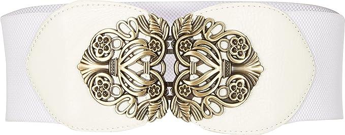 BlackButterfly 3 Pouces de Large Élastique Boucle Vintage Ceintur (Blanc,  FR 34-36 c5b7443f89c