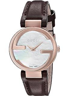 68b5b591fdc Gucci Interlocking Quartz Metal and Leather Brown Women s Watch(Model   YA133516)