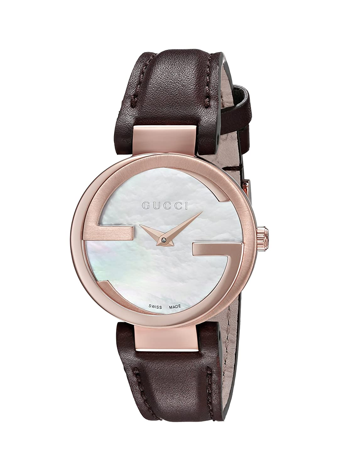 a78463e0314de Amazon.com  Gucci Interlocking Quartz Metal and Leather Brown Women s Watch( Model  YA133516)  Watches