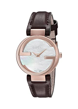 11a49005392 Amazon.com  Gucci Interlocking Quartz Metal and Leather Brown ...