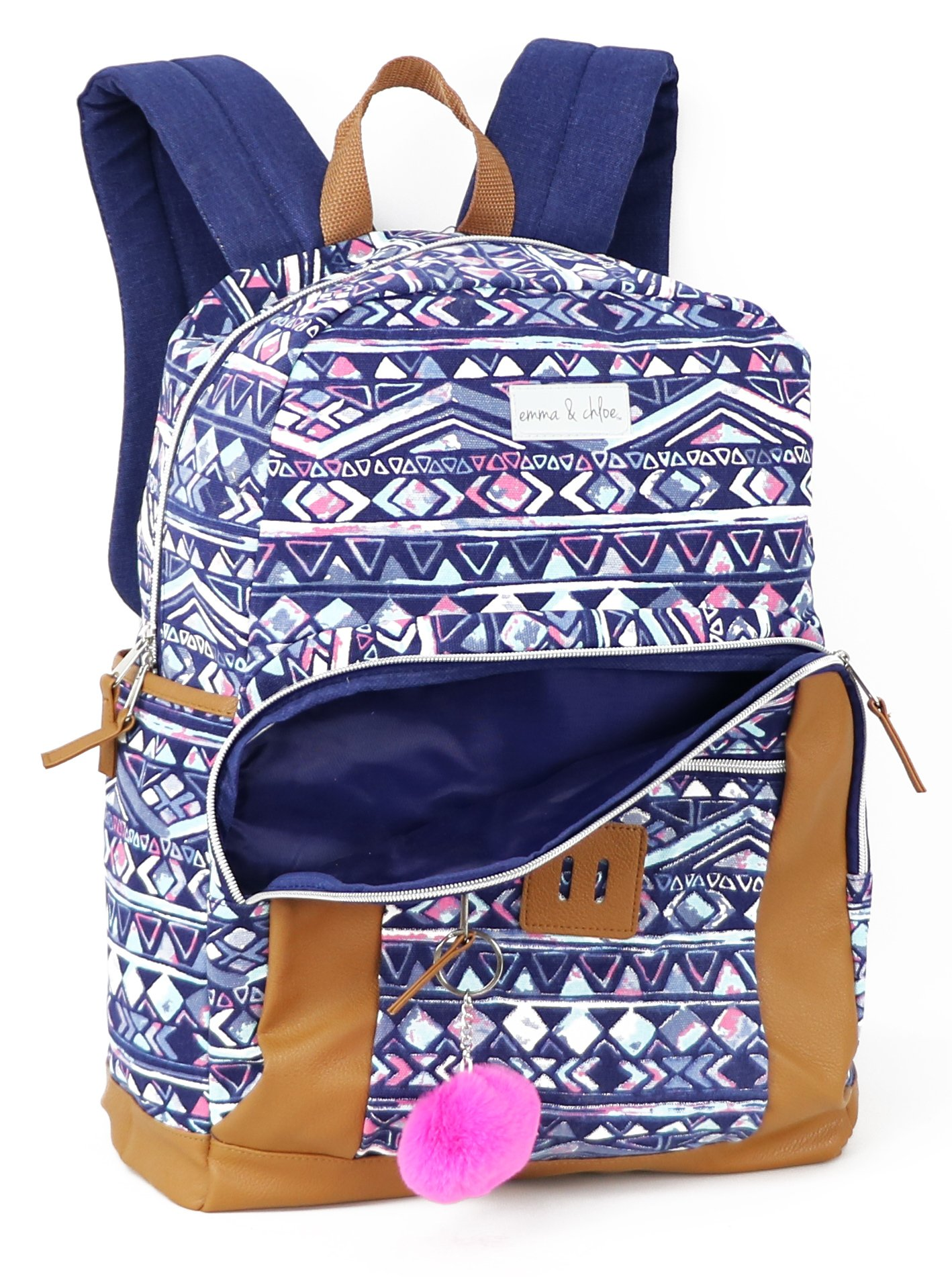 Emma & Chloe Girls Aztec Pom-Pom Vinyl-Base Cotton Backpack (One Size, Aztec Navy) by Trail maker (Image #2)