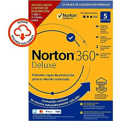 Norton 360 Deluxe 2020 Symantec - Antivirus software para 5 Dispositivos y 15 meses de suscripción con renovación automática, Secure VPN y Gestor de contraseñas, para PC, Mac tableta y smartphone
