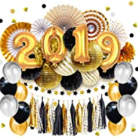 Nicrolandee 48-Piece New Year's Party Decoration Kit (Black/Gold/White)