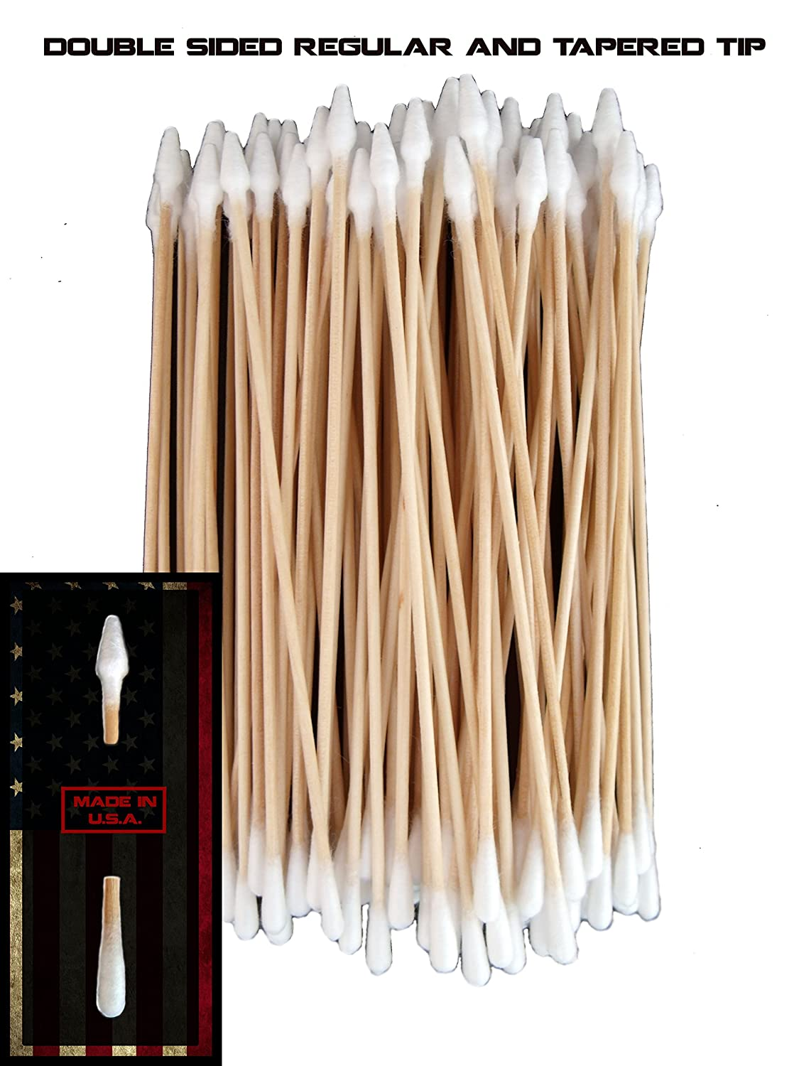 Type-III 100pc Gun Cleaning 6 Inch American Made Cotton Swabs