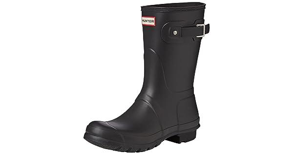 63e3e5ad01ed Hunter Womens Original Short Black Matte Rain Boot - 10 B(M) US