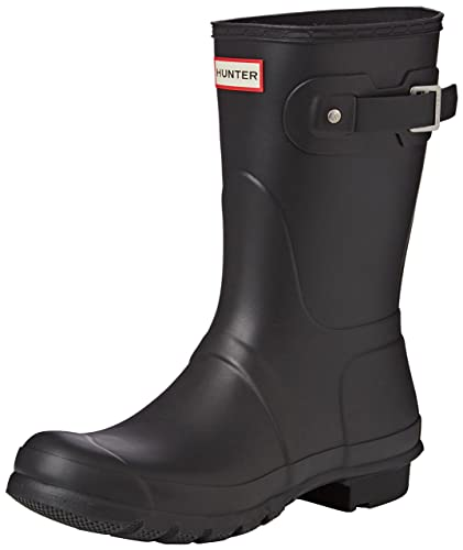 3ada53712b17 Hunter Womens Original Short Black Matte Rain Boot - 5 B(M) US