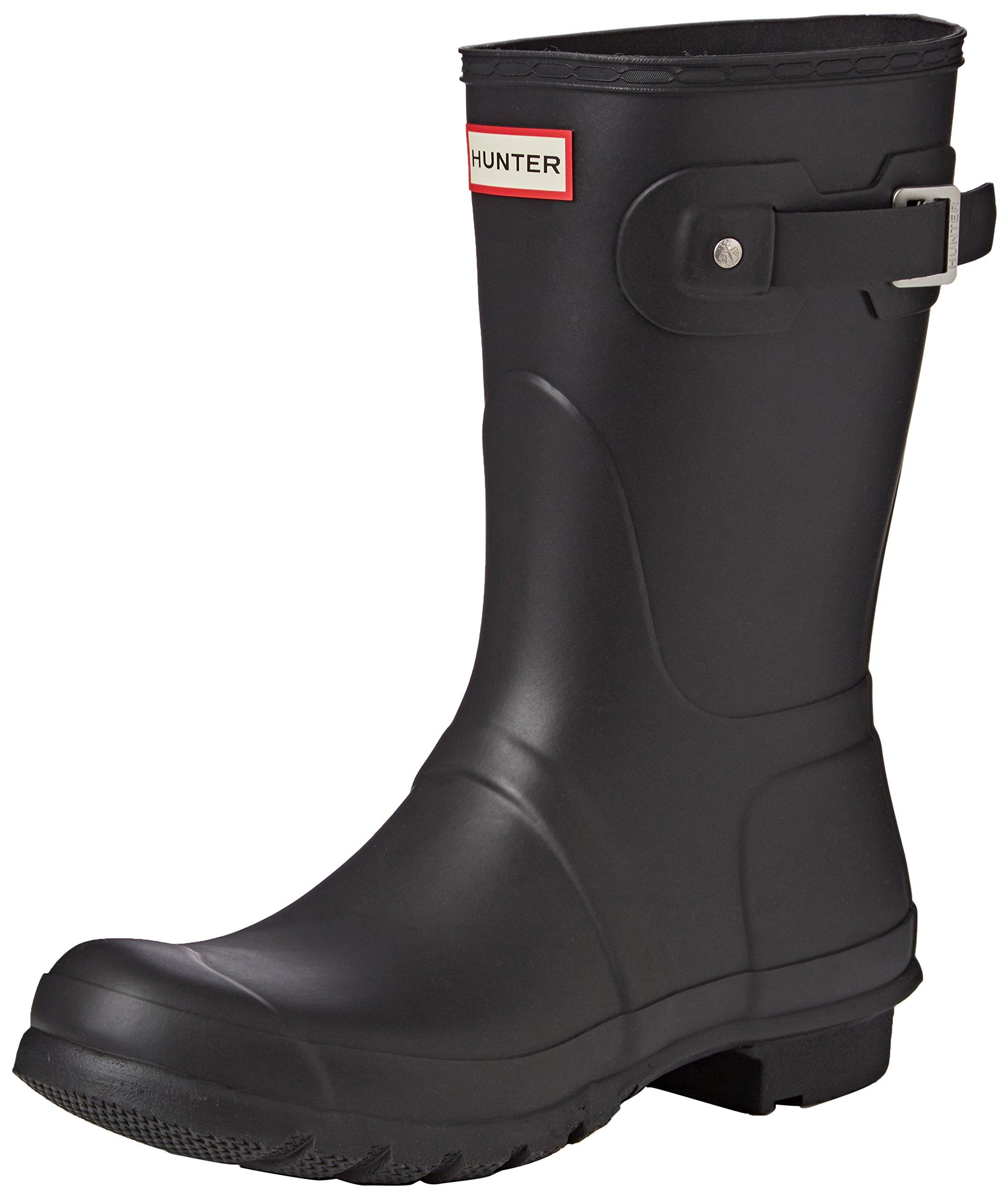 Hunter Womens Original Short Black Matte Rain Boot - 8 B(M) US