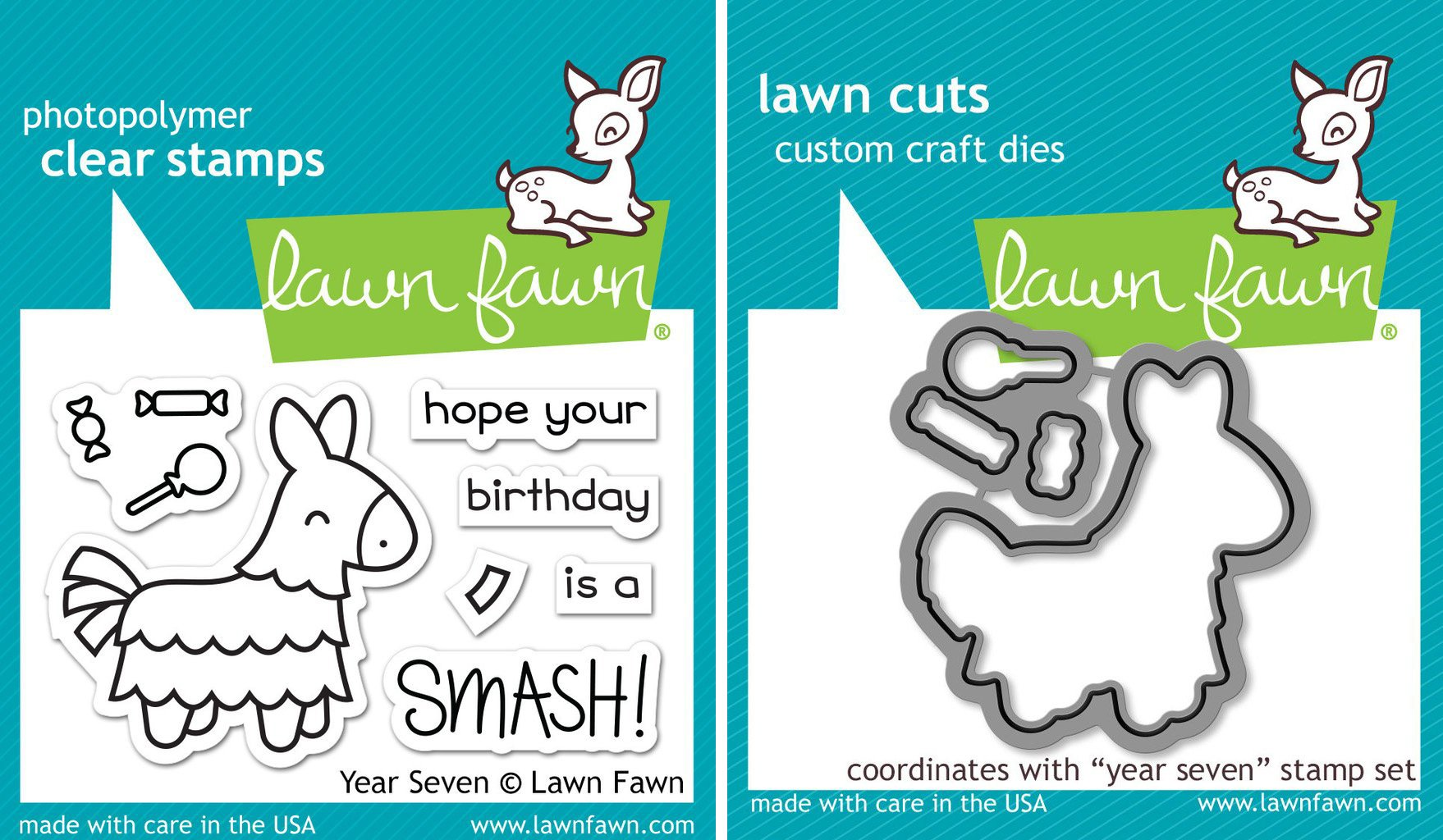 Lawn Fawn Pinata Clear Stamp & Die Set - Year Seven