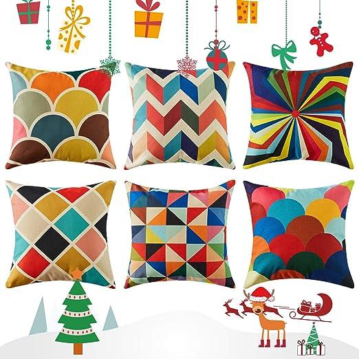 Topfinel Colorido geométrico algodón Lino Fundas de cojín para sofá Navidad Almohadas Home Decorativo Juego de 6,50x50cm,Serie