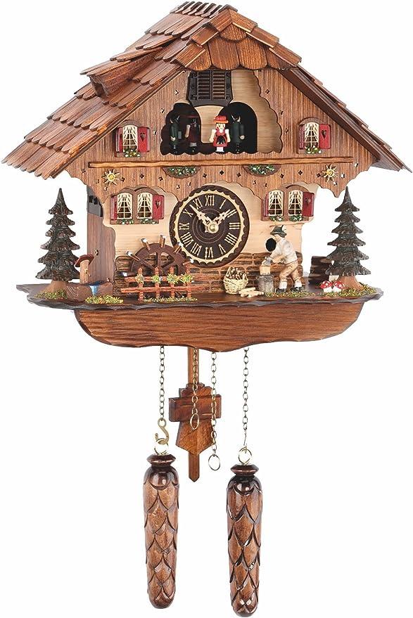 Trenkle Pendule A Coucou A Quartz Maison De La Foret Noire Avec Bucheron Et Roue De Moulin Mobile Avec Musique Tu 484 Qmt Hzzg Amazon Fr Cuisine Maison