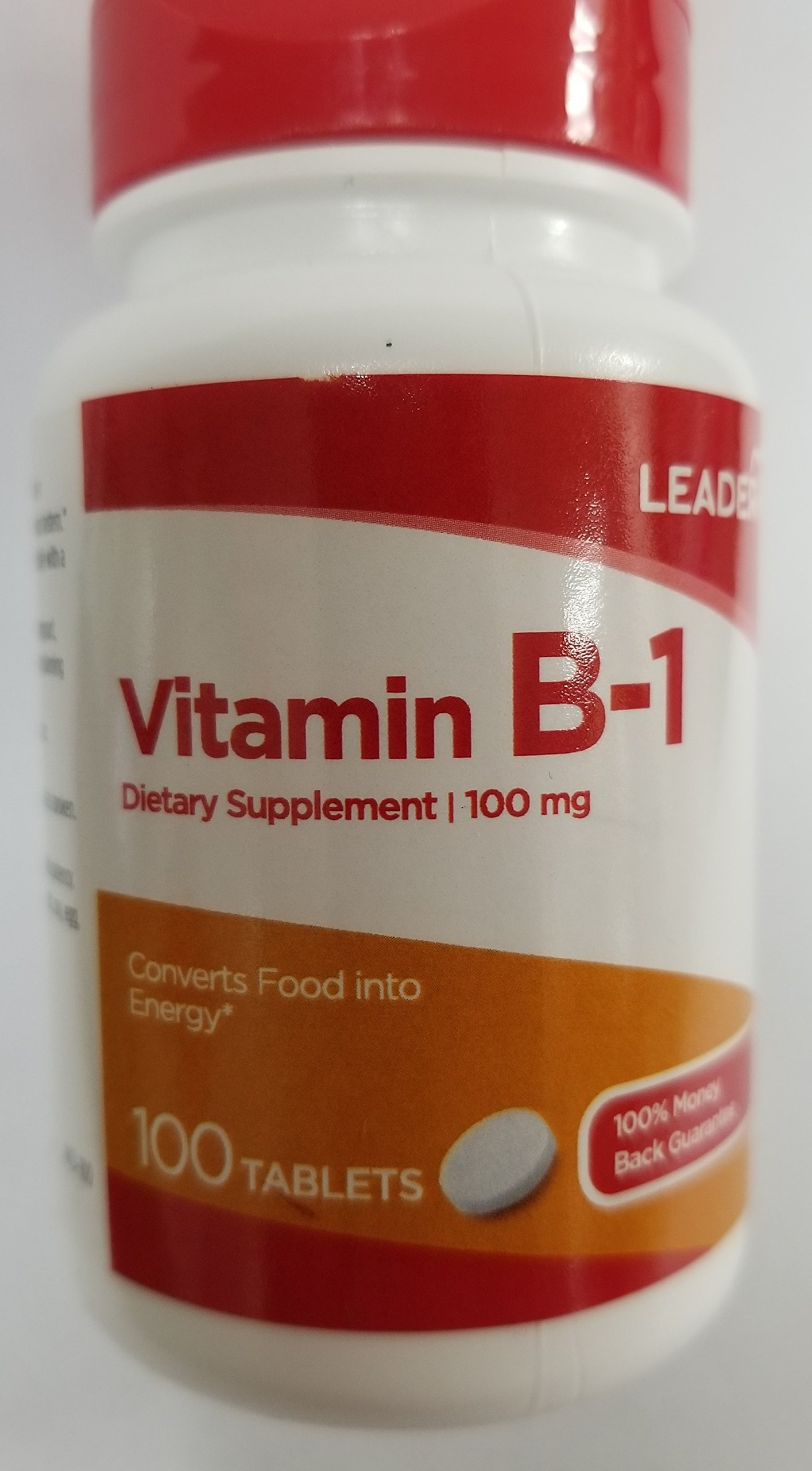 Leader Vitamin B-1 100mg, 100 Tablets Each (Pack of 10)