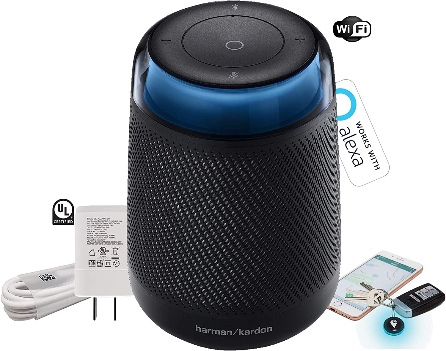 with Charger Harman Kardon Allure 360 Degree Voice-Activated Built-in Alexa Home Speaker -WiFi Item Tracker Black Renewed