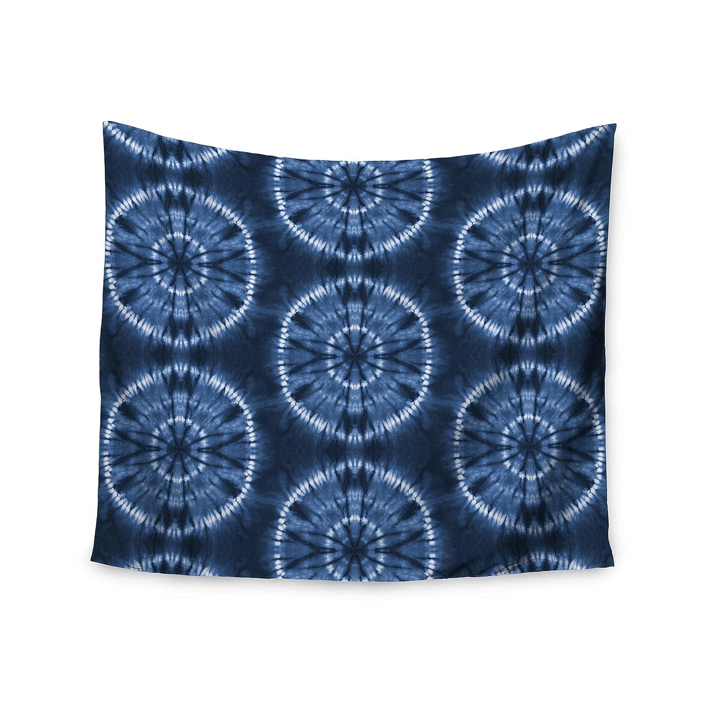 Kess InHouse Jacqueline Milton Shibori Circles-Indigo Blue Tribal Mixed Media 51 x 60 Wall Tapestry