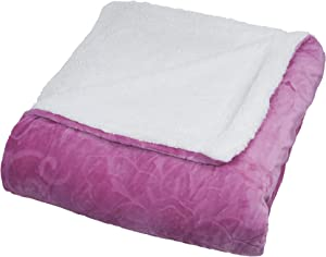 Lavish Home Floral Etched Fleece Blanket with Sherpa, Full/Queen, Pink