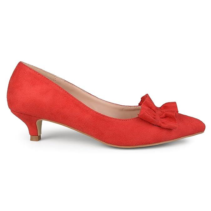 03e5eabee Amazon.com   Brinley Co. Womens Faux Suede Ruffle Kitten Heels   Pumps