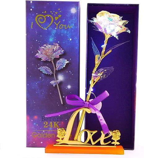 24K Colorful Luminous Rose Artificial LED Light Flower Unique Valentine/'s Day