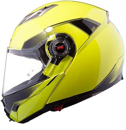 LS2 Casco de la motocicleta FF370 SHADOW Casco modulares Alta Visibilidad Amarillo y bloqueo de disco libre + DLR (Amarillo, M)