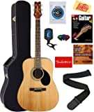 Jasmine S35 Acoustic Guitar - Natural Bundle with Hard Case, Strings, Tuner, Strap, Picks, Instructional Book, DVD, and…