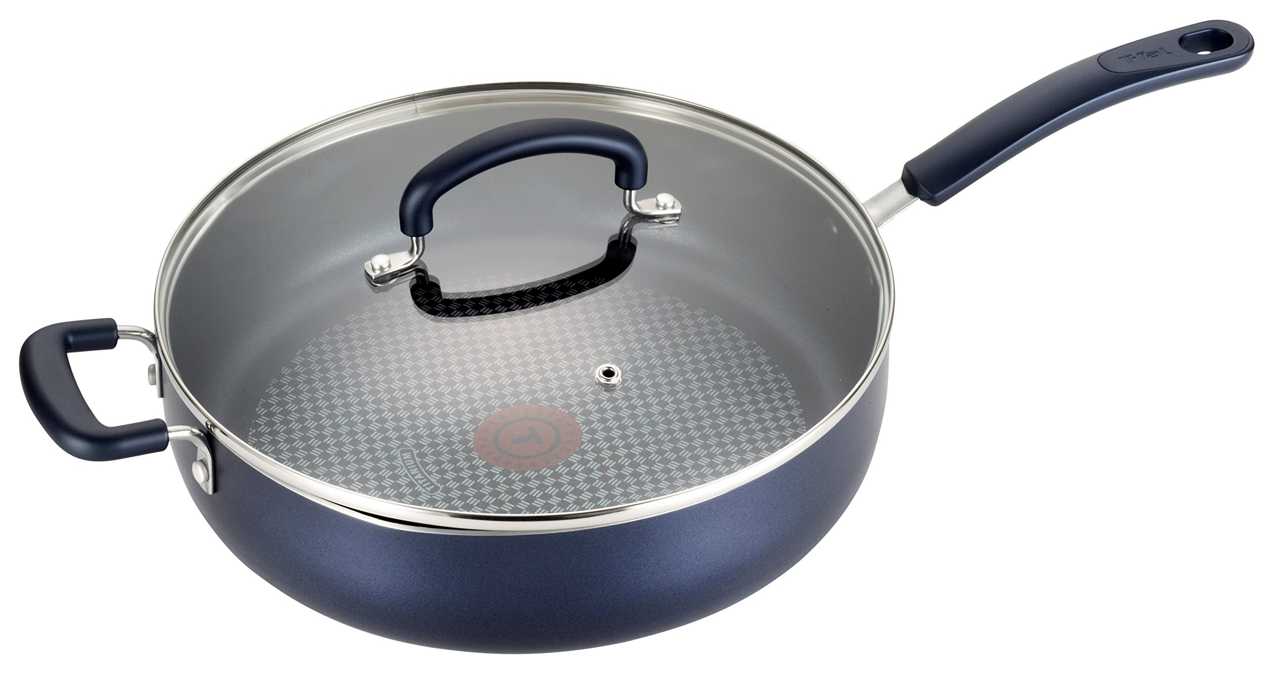 T-fal B12982 Color Luxe Hard Titanium Nonstick Thermo-Spot Dishwasher Safe PFOA Free Saute Pan Jumbo Cooker Cookware, 5-Quart, Blue