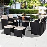Tangkula 9 PCS Black Patio Garden Rattan Wicker Sofa Set Furniture Cushioned W/Ottoman (Black)