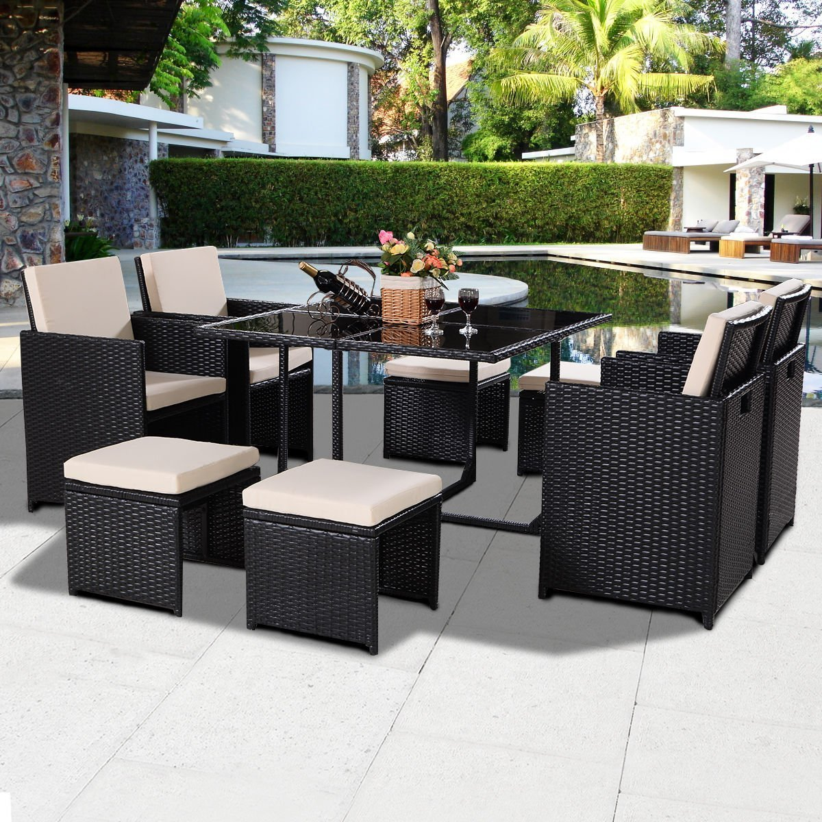 Tangkula 9 PCS Black Patio Garden Rattan Wicker Sofa Set Furniture Cushioned W/Ottoman (Black)