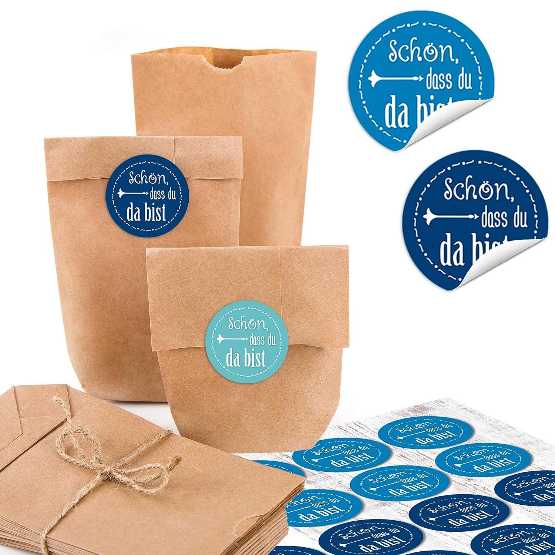 24/peque/ñas bolsas marrones Natural Papel Kraft papel 9/x 15/x 3,5/cm 24/redondas Sch/ön dass du da bist Azul Blanco Turquesa Maritim Bayern Bayerisch Danke del paquete Mini de bolsa regalo