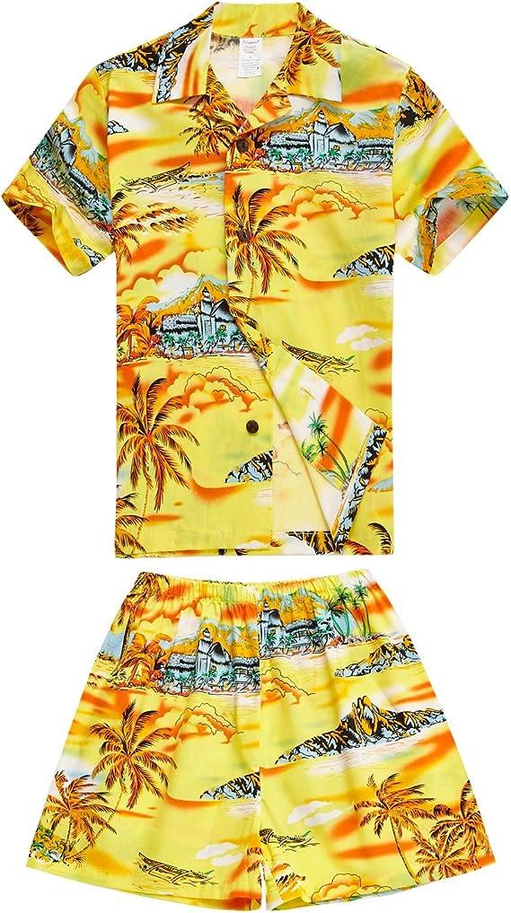 Map Print Boy\u2019s Hawaiian Cabana Shirt Shorts Set