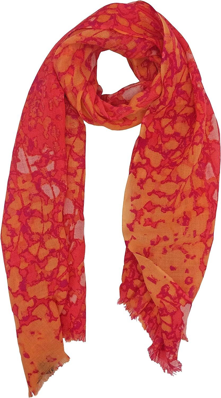 Tahari by Elie Tahari Cluster Animal Printed Lightweight Scarf 100% Merino Wool Coral at  Women's Clothing store