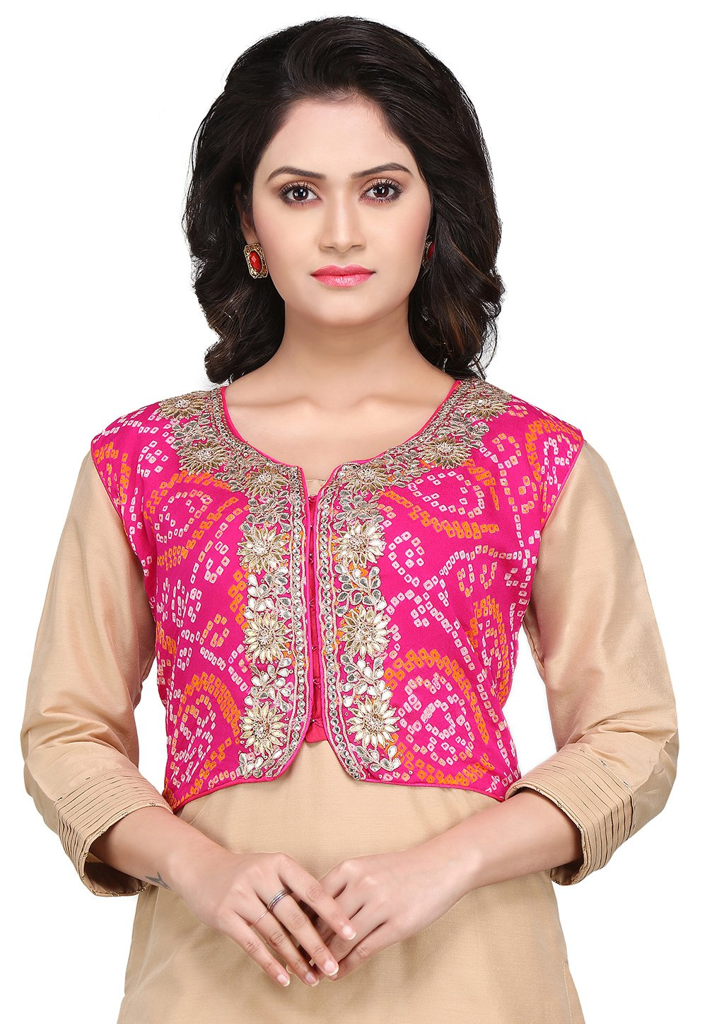 Utsav Fashion Pure Chinon Crepe Bandhej Jacket in Fuchsia by Utsav Fashion