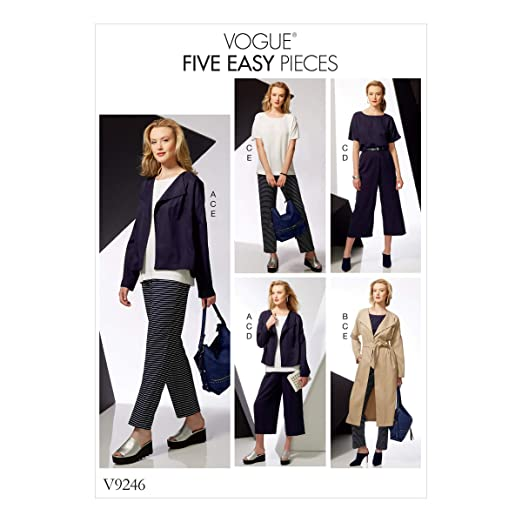 Vogue Patrones de Costura para Abrigo y cintur/ón 15/x 0,5/x 22/cm Tejido