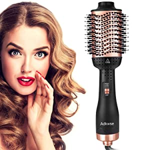 Adkwse Hair Dryer Brush, Hot Air Brush, One-Step Hair Dryer and Volumizer Blow Brush, 4 in 1 Upgrade Hair Brush Dryer Styler,Hair Brush Blow Dryer with Negative Ion and Ceramic Coating