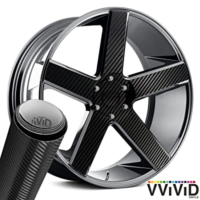 "VViViD Auto Rim Air-Release Adhesive Vinyl Wrap 24 Inch x 30 Inch 4 Sheet Pack (Black Carbon 24"" x 30"" 4-Pack): Automotive"