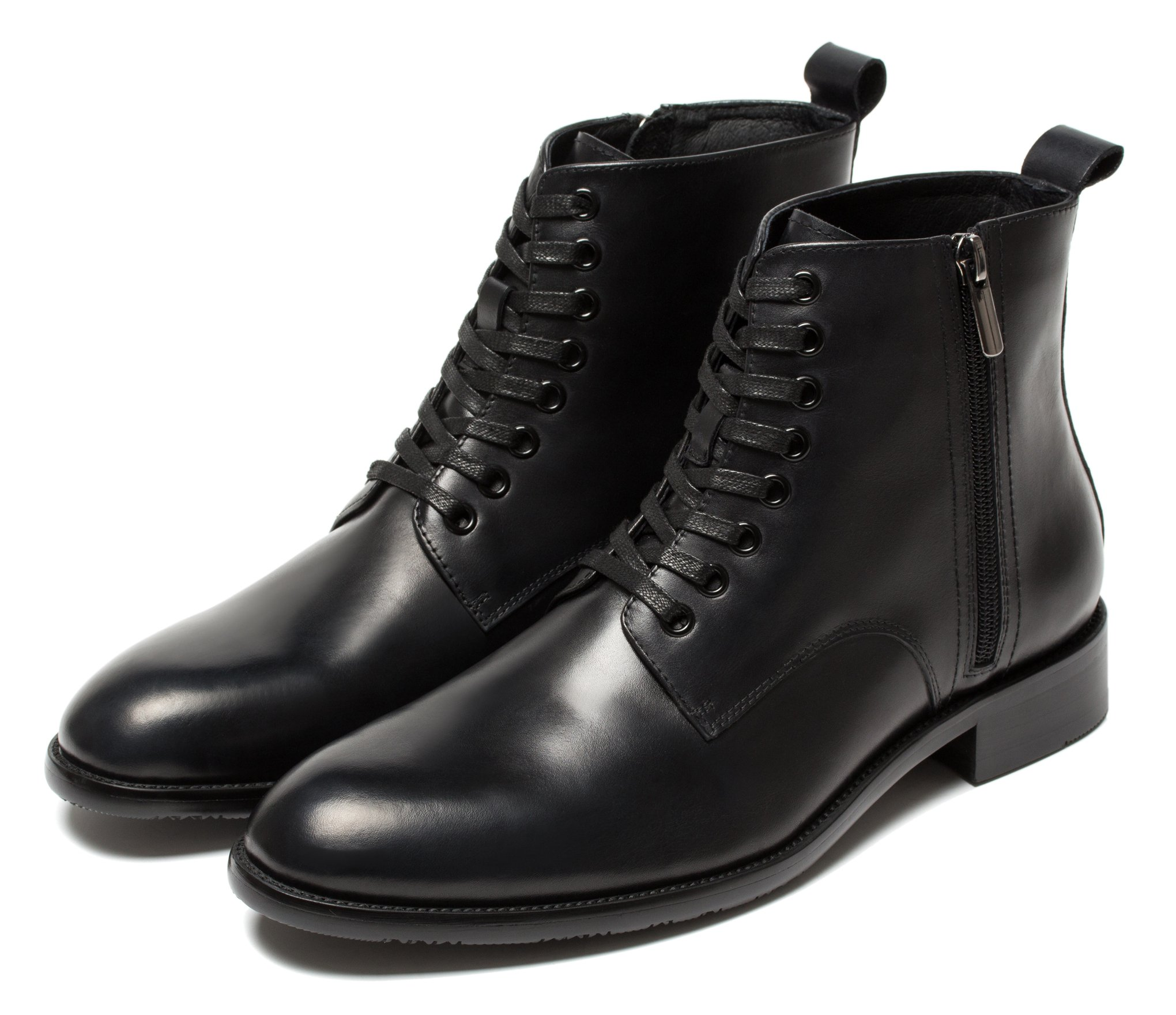 OPP Designer Side-zip Ankle Boots Men Fashion Lace-Up High Top Bootie Shoes Winter 2016 5.5 Black