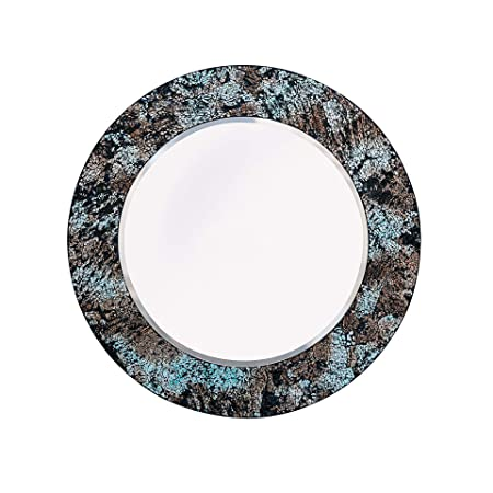 Whole Housewares Mosaic Wall Mirror Decorative Round Wall Mirror Diameter 20 Inside Mirror 14 Blue Multi
