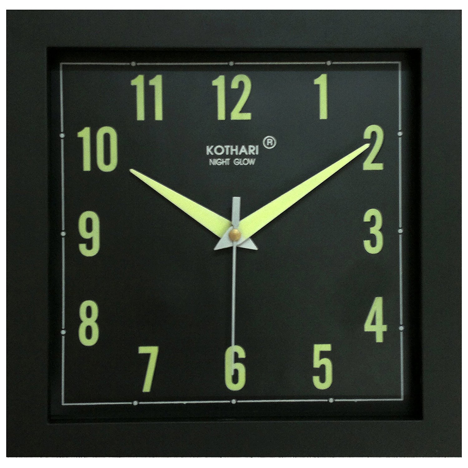 Radium wall clock online images home wall decoration ideas glow wall clock gallery home wall decoration ideas buy kothari night glow square plastic clock black amipublicfo Images