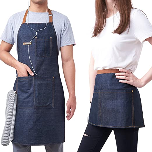 2 Pack Denim Apron with Adjustable Unisex, Kitchen Aprons for Women or Men,Aprons for Women with Pockets for Cooking,