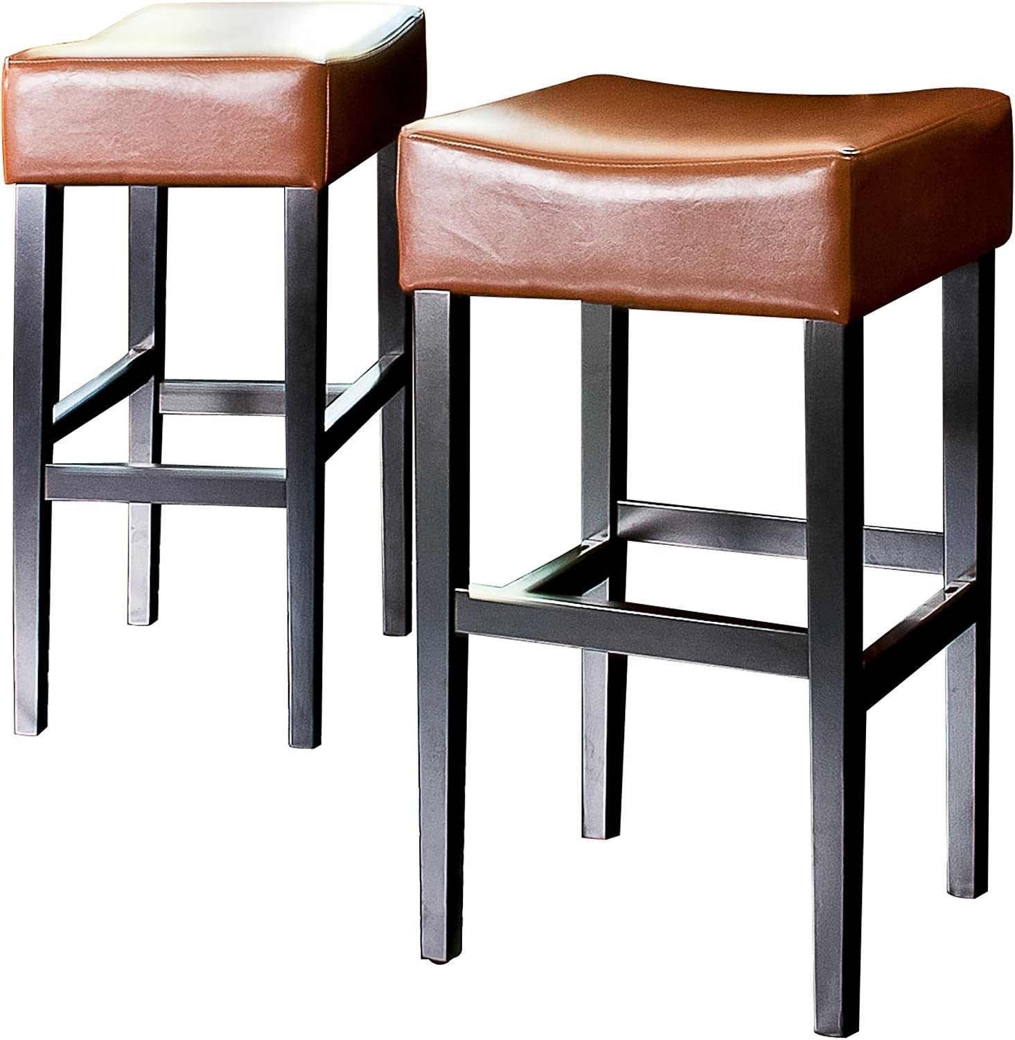 2-Pack Classic White Leather Backless Barstool