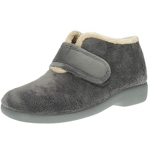 GARZÓN. Zapatilla Abotinada de Casa con Velcro y de Invierno para Mujer - Modelo 3895.247: Amazon.es: Zapatos y complementos