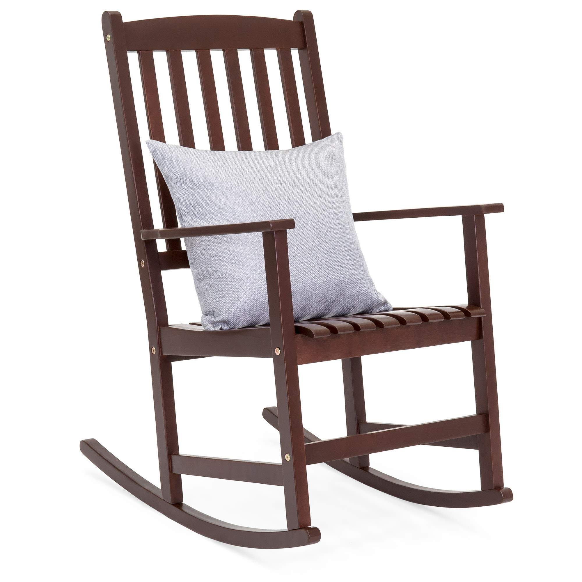 Best Choice Products Indoor Outdoor Traditional Wooden Rocking Chair Furniture with Slatted Seat and Backrest, Brown