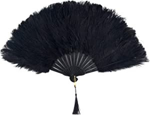 BABEYOND Vintage Style Folding Handheld Ostrich Feather Fan 1920s Flapper Accessories (Black)