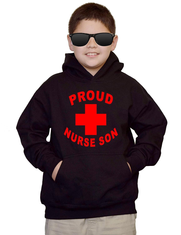 Youth Proud Son Nurse V499 Black kids Sweatshirt Hoodie