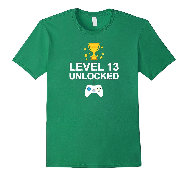 13th Birthday Level 13 Unlocked Funny T-shirt Gamer Gift Kid-TD
