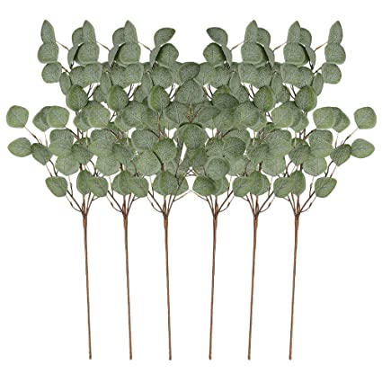Christmas Greenery Images.Vgia 6pcs Artificial Silver Dollar Eucalyptus Leaf Spray In Green Tall Artificial Greenery Holiday Greens Christmas Greenery